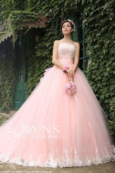 Strapless Ball Gown,Lace Bridal Dress,Custom Made Evening Quince Dresses, Ball Dresses, 15 Dresses, Pretty Dresses, Ball Gowns, Evening Dresses, Pink Dresses, Pink Wedding Dresses, Bridal Dresses