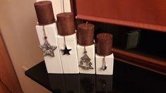 Vierkanthölzer als Adventskranz mit Kerzenhalter und hübscher Deko