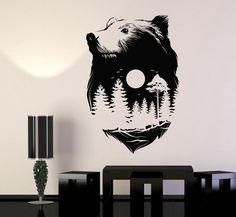 Vinyl Wall Decal Sticker Animals Bear Full Moon Nature Forest Wood Midnight (668ig)