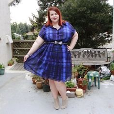 Trending Now: The Little Plaid Dress. @vintageortacky in the @citychiconline Checkmate Dress from #GwynnieBee