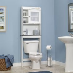 Over the Toilet Bathroom Cabinet in White - Hearts Attic   - 1