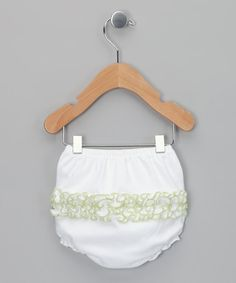 Take a look at this White & Sage Ruffle Diaper Cover - Infant by Cute as Buttons on #zulily today!