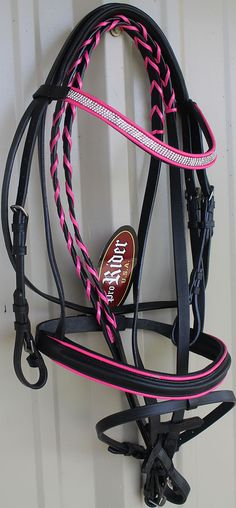 Horse-English-Leather-Padded-Show-Bridle-Crystal-Bling-Browband-Pink-Full-80302F
