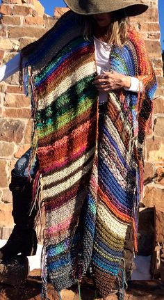 "Items similar to XTRA-LONG Handknit Womens Bohemian Festival Hippie Beach Poncho Cape Shawl (""For Donna"") on Etsy Moda Crochet, Crochet Poncho, Festival Hippie, Boho Gypsy, Shawls And Wraps, Knit Patterns, Crochet Clothes, Bunt, Hand Knitting"