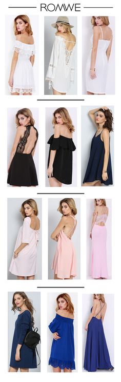 Summer dresses in solid colors here for you. Pure dress in white, black, pink, blue and more colors here. From US$8.99 .