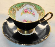 SHELLEY Gainsborough GREEN REGAL BLACK GOLD TEA CUP AND SAUCER