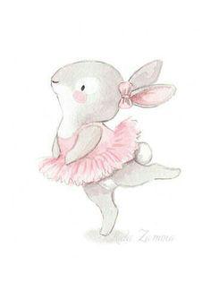"Nursery Art ""BUNNY BALLERINA"" Art Print for girls, Pink Illustration, Nursery ballerina art, Ballerinas print, Baby girl wall art Bunny Nursery, Nursery Wall Art, Baby Room Art, Girl Nursery, Animal Drawings, Cute Drawings, Ballerina Kunst, Ballerina Nursery, Image Deco"
