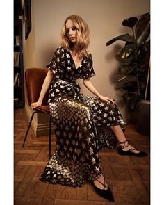 The Spring 2019 Hetty Wrap Dress shot by Laura Bailey Laura Bailey, Haute Hippie, Temperley, Fancy Pants, Flutter Sleeve, Dress Making, New Dress, Editorial Fashion, Wrap Dress