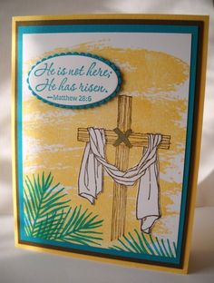 Stamps: Easter Message, Watercolor Wash.  CS: Bermuda Bay, So Saffron, Soft Suede, Whisper White Ink: Bermuda Bay, So Saffron, Soft Suede.   Accessories: Blender Pen, Sahara Sand and Bermuda Bay markers, Layering Oval Framelits Dies, Dimensionals, Occasions Catalog 2017.  Easter card.