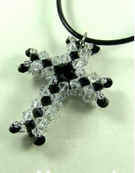 Beaded Cross PATTERN;  MATERIALS:  4mm bicones (color A);