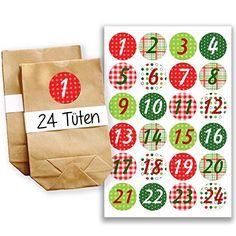 Adventskalender Set - 24 braune Tüten und 24 bunte Zahlenaufkleber - zum selber basteln und zum befüllen - Mini Set 5 von Papierdrachen