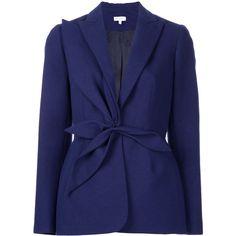 Delpozo tie waist blazer ($1,600) ❤ liked on Polyvore featuring outerwear, jackets, blazers, blue, blue blazer, delpozo, blazer jacket, blue blazer jacket and blue jackets