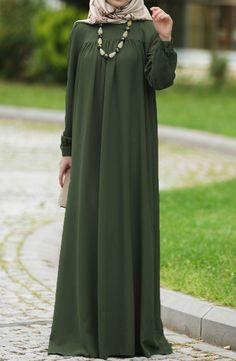 Şahsenem Robalı Elbise - Yeşil Modest Fashion Hijab, Abaya Fashion, Fashion Dresses, Mode Abaya, Mode Hijab, Moslem Fashion, Muslim Women Fashion, Stylish Dresses For Girls, Indigo
