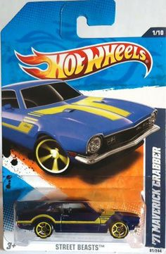 2011 Hot Wheels 1971 MAVERICK GRABBER street beasts 1 of 10, #81 dark BLUE with yellow stripes, spokes, and rims by Mattel. $7.00. 1:64 scale. ages 3+. die cast metal and plastic parts. 2011 Hot Wheels 1971 MAVERICK GRABBER street beasts 1 of 10, #81 dark BLUE with yellow stripes, spokes, and rims
