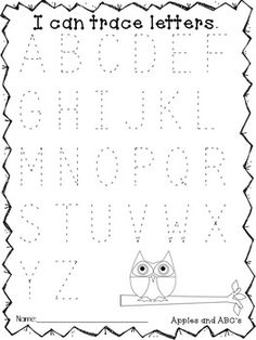to School Assessments (Kindergarten- Owl Themed) Tracing Letters and other worksheets for pre-k and kindergarten aged children.Tracing Letters and other worksheets for pre-k and kindergarten aged children. Preschool Classroom, Preschool Learning, Early Learning, In Kindergarten, Fun Learning, Teaching, Kindergarten Assessment, Pre K Activities, Alphabet Activities