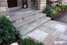 New slate patio steps stairs ideas Front Porch Steps, Front Stairs, Front Porch Design, Front Walkway, Stone Front Porches, Porch Stairs, Slate Walkway, Slate Patio, Flagstone Patio