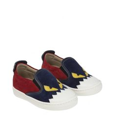 35bd6eae39a3c Fendi Baby Boys Grey Slip-On Shoes with Monster Robot Print