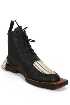 John Galliano 'Fallen Angels' leather and canvas hammerhead boots, circa 1986 | From a collection of rare vintage shoes at https://www.1stdibs.com/fashion/clothing/shoes/