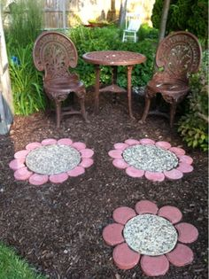 Paver Flowers - this would be fun with custom middles the kids make (same size as some of the aggregate pavers) with colored glass beads. Fun keepsake stepping stones adding a splash of color in the flower beds. - Flower Beds and Gardens Garden Yard Ideas, Lawn And Garden, Garden Projects, Garden Paths, Garden Art, Kid Garden, Herbs Garden, Mosaic Garden, Backyard Projects