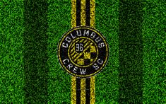 Download wallpapers Columbus Crew SC, 4k, MLS, football lawn, logo, american soccer club, yellow black lines, grass texture, Columbus, Ohio, USA, Major League Soccer, football
