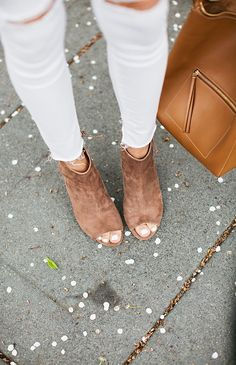 Open toe booties and white denim