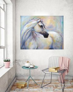 """White Horse Painting-Horse canvas art, horse oil painting-on canvas """"Heavenly Horse"""" Giclee print on paper or canvas In a limited numbered series of 95 Swirling colors sparkle around this beautiful…MoreMore Click visit link for more info White Horse Painting, Horse Canvas Painting, Canvas Art, Canvas Ideas, Watercolor Horse, Watercolor Paintings, Original Paintings, Pastel Paintings, Painting Abstract"""