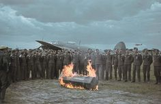 The Luftwaffe pilots making the ritual of burning fear.