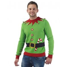 Mens Elf Christmas Jumper | The Christmas Jumper Store Elf Christmas Jumper, Best Christmas Jumpers, Funny Christmas Sweaters, Ugly Xmas Sweater, Great Christmas Presents, Christmas Fun, Christmas Vouchers, Extreme Knitting, Cute Little Things
