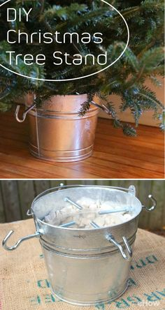 Using a metal pail and clothesline hooks, make this farmhouse style Christmas tree stand complete with a plastic reservoir for watering. Perfect for smaller spaces, a cozy nook or porch decoration, the base of this stand is weighted with marble garden rocks for support and the galvanized pail gives an incredibly charming feel. http://www.ehow.com/how_2279390_make-own-christmas-tree-stand.html?utm_source=pinterest.com&utm_medium=referral&utm_content=freestyle&utm_campaign=fanpage