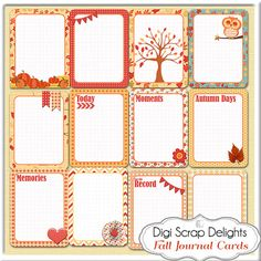 Fall Pocket Journal Cards Set2 3x4 Autumn by DigiScrapDelights, $3.00