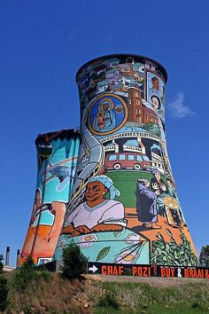Colorful paintings on the Soweto cooling towers near Johannesburg, Gauteng, South Africa Les Seychelles, Cooling Tower, South African Art, Out Of Africa, Africa Art, Art Africain, Water Tower, Colorful Paintings, Street Art Graffiti