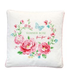 GreenGate Cushion Cover Summer Rose White 40 x 40 cm   NEW! Spring/Summer 2014   Originated-Webshop