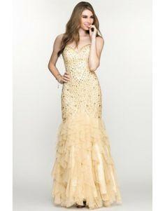 2014 Mermaid Trumpet Prom Dress Sweetheart Pick Up Ruffled Yellow Prom Dress