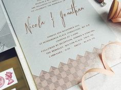 lucy says I do bespoke wedding stationery design london wedding copper foil grey card custom map