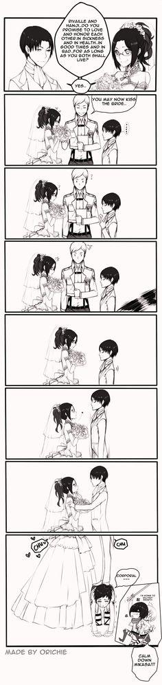 LeviHan: Just Married. Nice job, Levi! Now Mikasa wants to kill you XD: