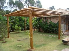 Pergola Tuin Balken - Wooden Pergola Park - How To Hang Pergola Curtains - Pergola Holz Garten Diy Pergola, Rustic Pergola, White Pergola, Small Pergola, Wood Pergola, Pergola Swing, Pergola Attached To House, Deck With Pergola, Covered Pergola