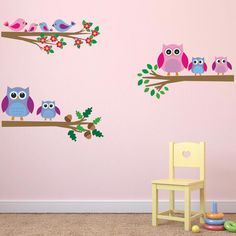 Our Childrens Owl on Branches Fabric Wall Stickers are made from an innovative…