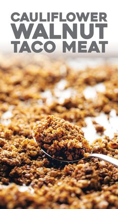 Spicy Cauliflower Walnut Taco Meat! It's so easy: just mix and bake. meatless, gluten free, vegan! | pinchofyum.com