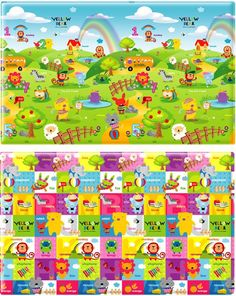 Baby & Kids Bumper Playmat™. LG Yellow Bear  size: 2300 x 1400mm  thickness: 15mm  weight: ~12kg  Material: eco friendly soft PVC (non toxic).  Reversible - image showing front and back. www.smallsmallworld.com