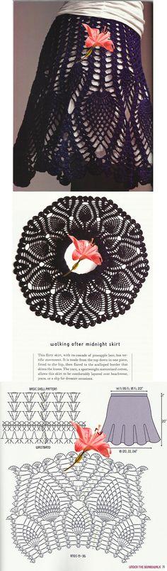 Crochet skirt diagram patrones ideas for 2019 Crochet Skirts, Crochet Shoes, Crochet Clothes, Crochet Stitches Patterns, Crochet Chart, Knit Crochet, Pineapple Crochet, Crochet Woman, Crochet Fashion