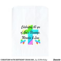 CHRISTIAN 60TH BIRTHDAY CROSS AND BUTTERFLY DESIGN Beautiful Christian 60th birthday gifts for that someone special who loves God and is an inspiration to all. https://www.zazzle.com/jlpbirthday/gifts?cg=196545043849107961&rf=238246180177746410 #60thbirthday #Christian60th #turning60 #60yearsold
