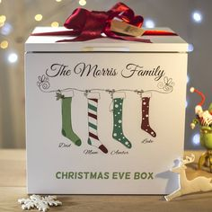 The perfect Christmas Eve box for the whole family to enjoy!Our bespoke wooden boxes are personalised with your family name and you can choose from two of our unique stocking designs: either 'Crisp & Bright' or 'Soft & Muted', on a white or cream box (see photos for examples). Choose the amount of stockings you would like and we will create the design just for you. You can then leave the stockings blank, or personalise them with the names of all the family, in...