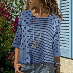 Printed Split-joint Half Sleeve T-shirt Beach T Shirts, Collar Blouse, One Piece Swimwear, Half Sleeves, Shirt Blouses, Long Sleeve, Casual, Printed, Polka Dot
