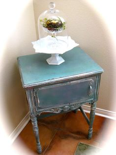 love this little painted vintage sewing cabinet--love this shade of blue!