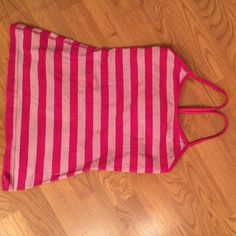 Lululemon athletica power tank 6 Lulu pink striped power tank. Missing bra pads but in very good condition! No stains or wear or rips! lululemon athletica Tops Tank Tops