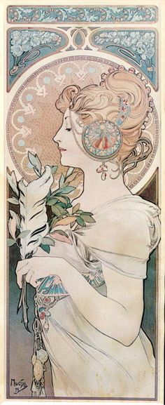 Mucha. I got this as a picture hanging on my wall, love it so much, found it at an antique show and just had to have it. Would make a interesting tattoo piece.