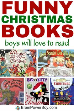 Don't miss this list of funny Christmas books for boys! These books will get boys reading (and laughing!) There are 10 great titles and your boys are sure to love them. Click the picture to see the list.