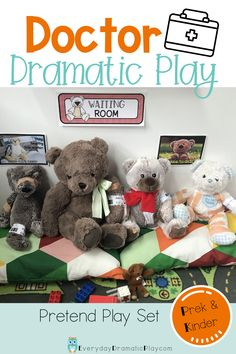 Teddy Bear Hospital and Er are now open! Preschoolers and kindergartners will love taking care of sick or injured teddy bears with this doctor dramatic play center. This hospital dramatic play center is a perfect addition to bear theme, health theme or community helpers theme. Use these printables and a few other items for hours of play and learning in your dramatic play area. Dramatic Play Themes, Dramatic Play Area, Dramatic Play Centers, Doctor Theme Preschool, Doctor Role Play, Role Play Areas, Preschool Curriculum, Preschool Classroom, Preschool Activities