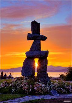 Inukshuk Sunset, English Bay, Vancouver, British Columbia!