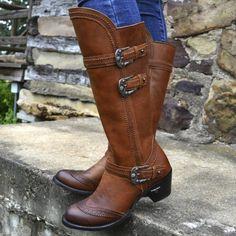 Low Heel Shoes, Low Heels, Brown Shoe, Brown Boots, Vintage Boots, Casual Heels, Boots Online, Western Boots, Knee High Boots